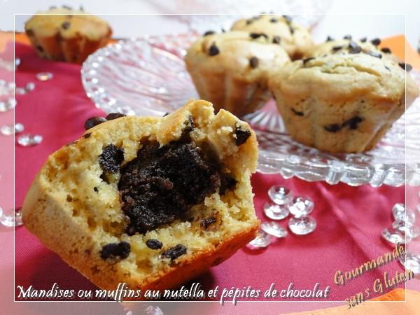 Mandises ou muffins au nutella et pépites de chocolat, sans gluten