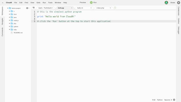 Screenshot of Cloud9's editor