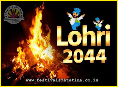 2044 Lohri Festival Date & Time, 2044 Lohri Calendar