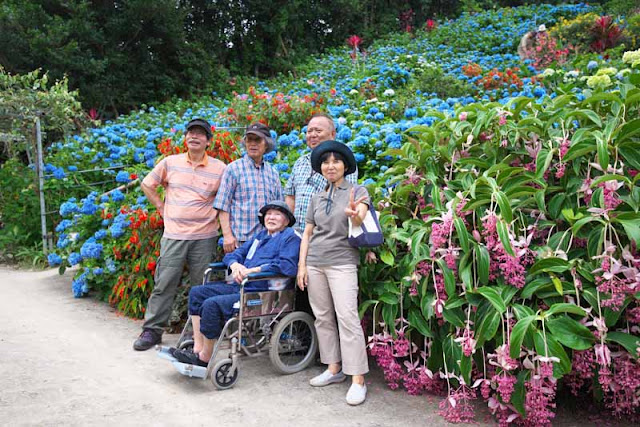 Family posing among flowers