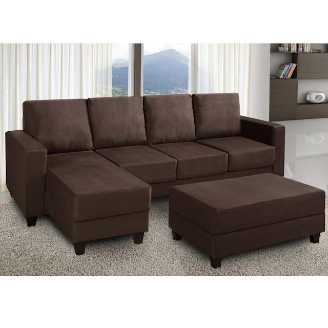 Sofá 3 lugares American Comfort Madaloni em tecido suede com chaise reversível