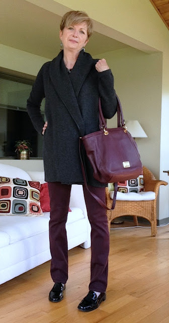 grey Vince coat sweater, burgundy NYDJ jeans, black Stuart Weitzman loafers, burgundy Marc Jacobs tote