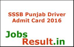 SSSB Punjab Driver Admit Card 2016
