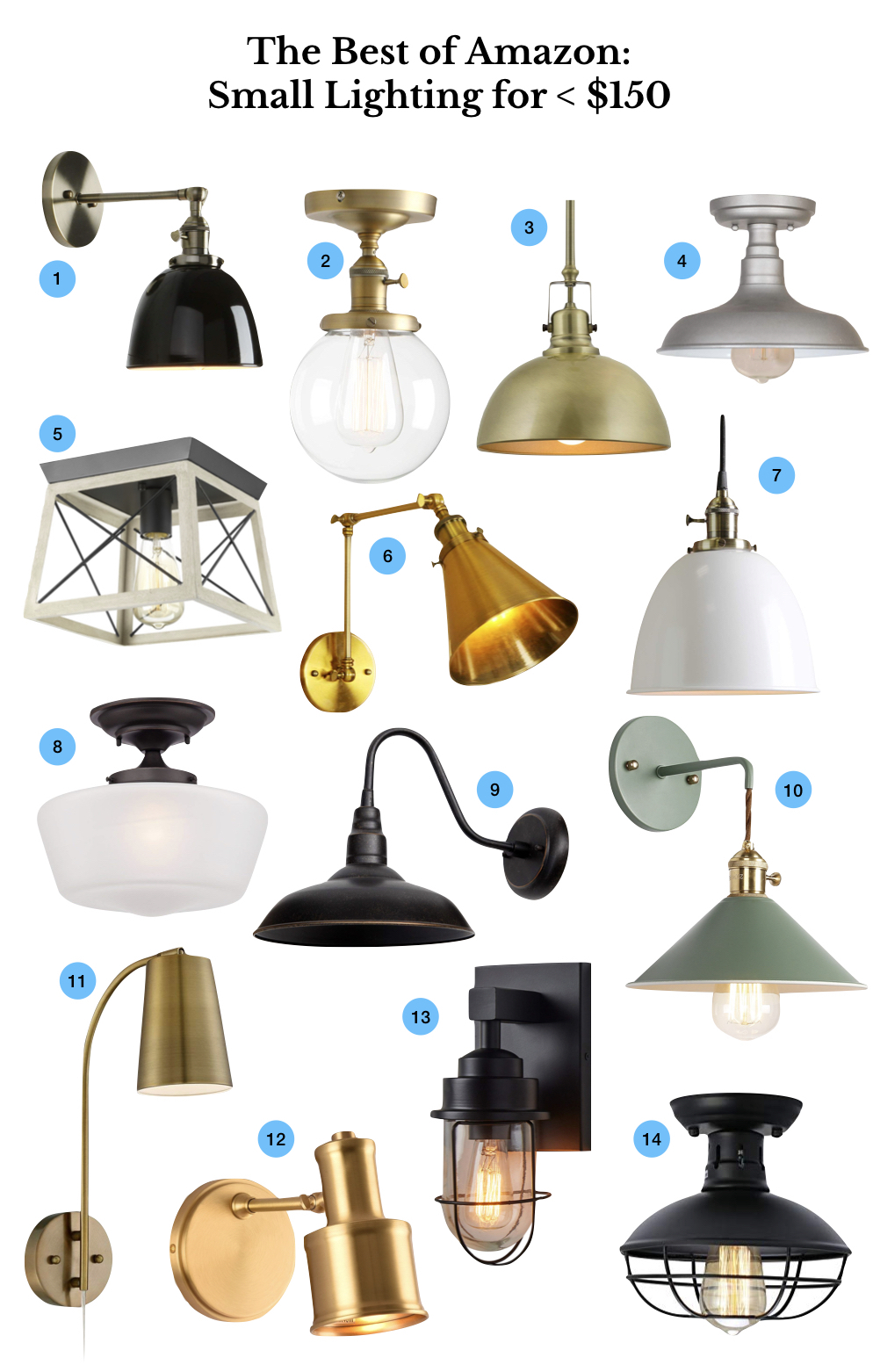 inexpensive, cheap lighting on Amazon. Stylish small lights. Budget wall sconces, pendant lights, semi flush mount lighting.