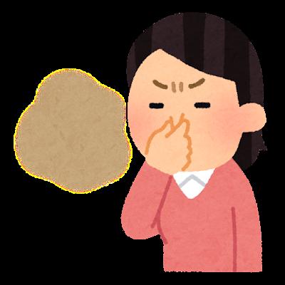 臭くて鼻をつまむ人のイラスト(女性)