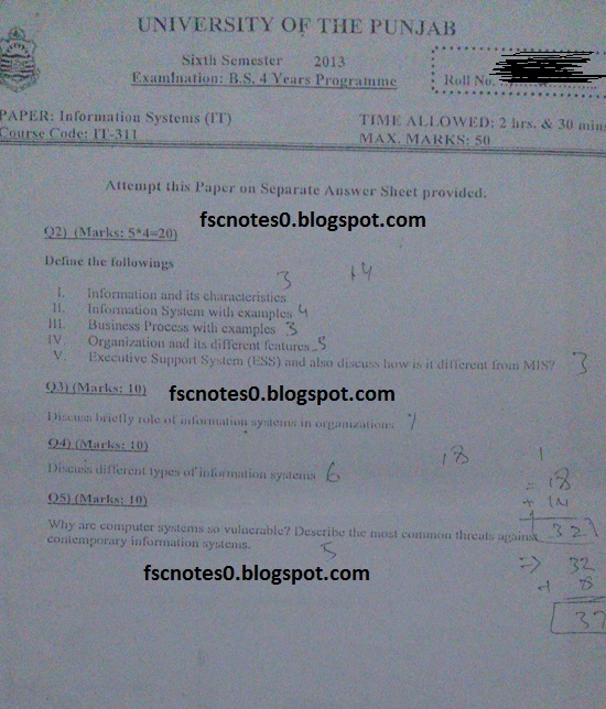 BS (Hons) IT Information Technology Past Papers Semester 6 Information Systems (IT) 2013 Asad Hussain