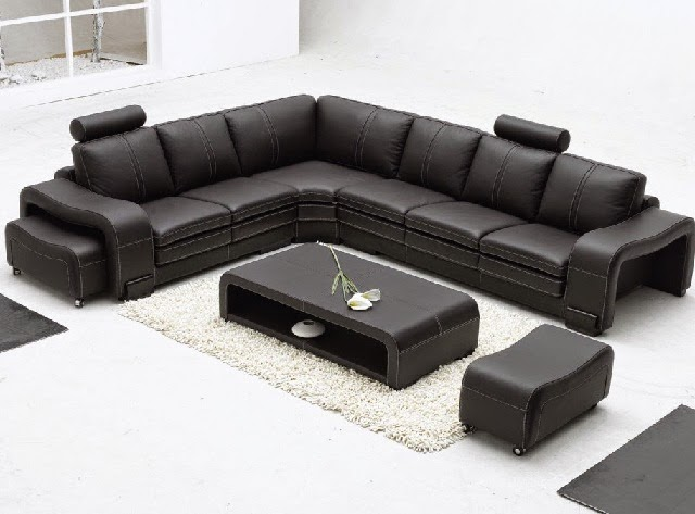 Modern Minimalist Large Leather Sectional Sofa Sets