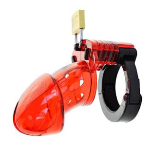 clear red plastic male chastity device with padlock