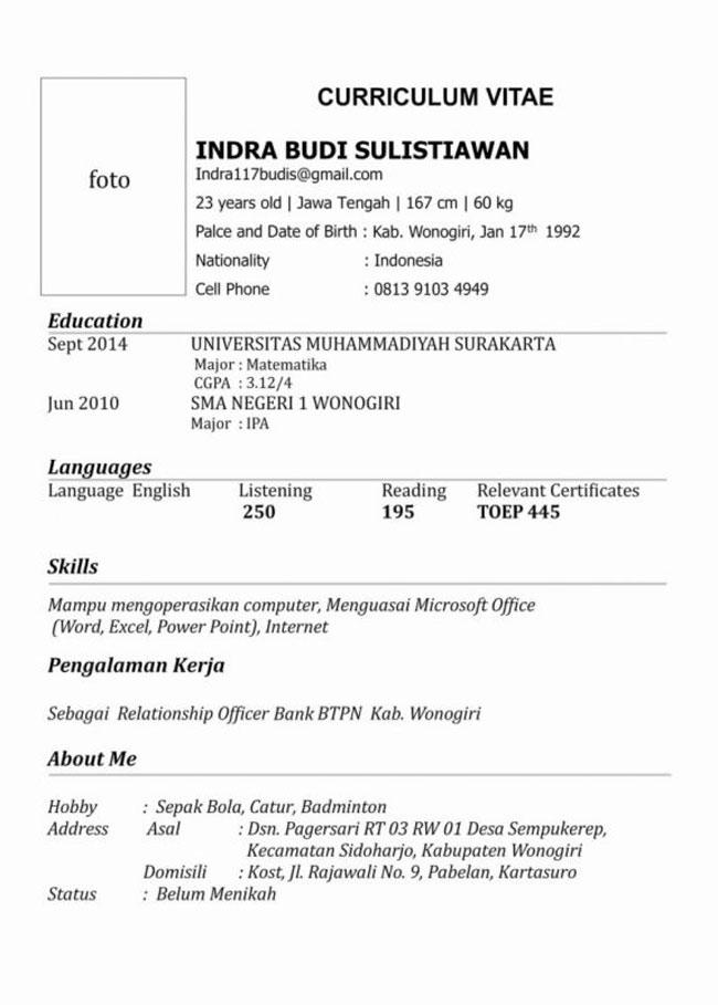 Gambar untuk Contoh CV Dalam Bahasa Inggris Yang Menarik