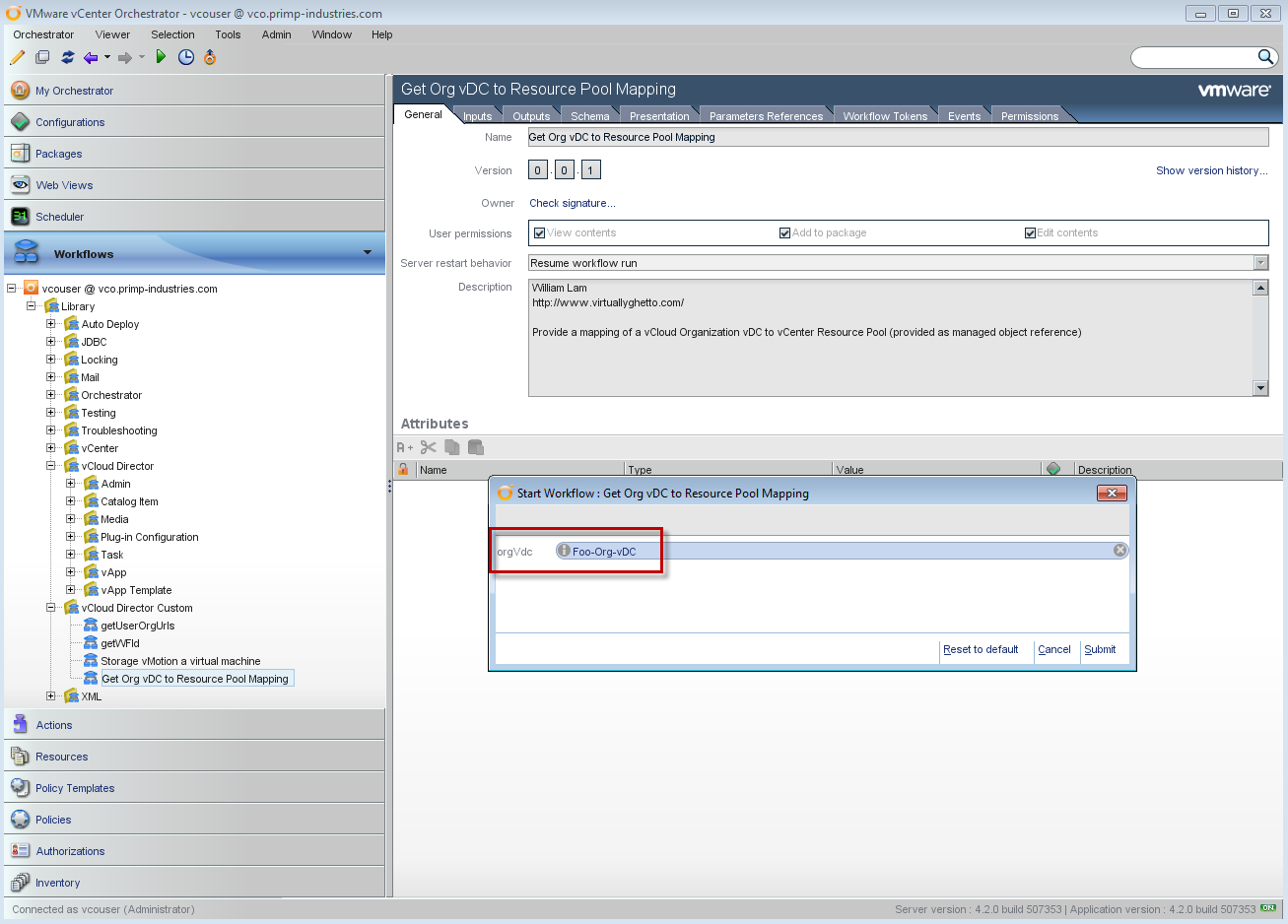 Org vDC to vCenter Resource Pool Workflow Using vCenter Orchestrator