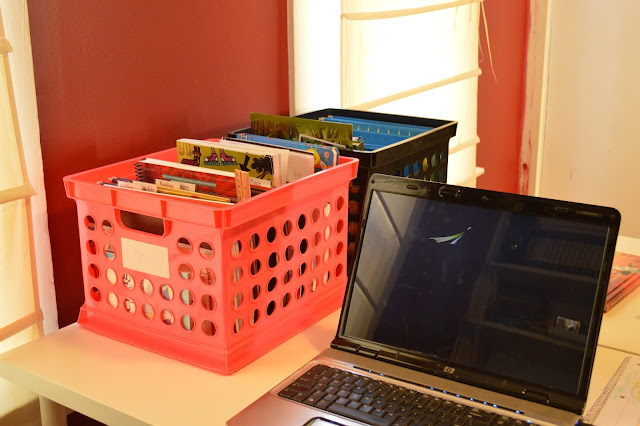 Milk Crates to organize Homeschool Curriculum