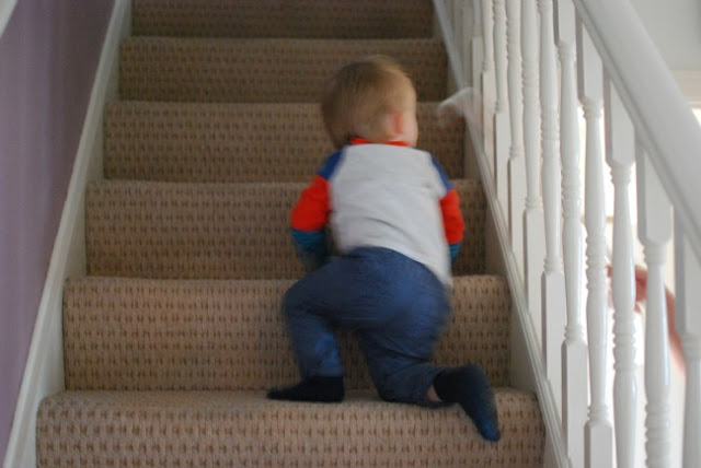 toddler climbing stairs