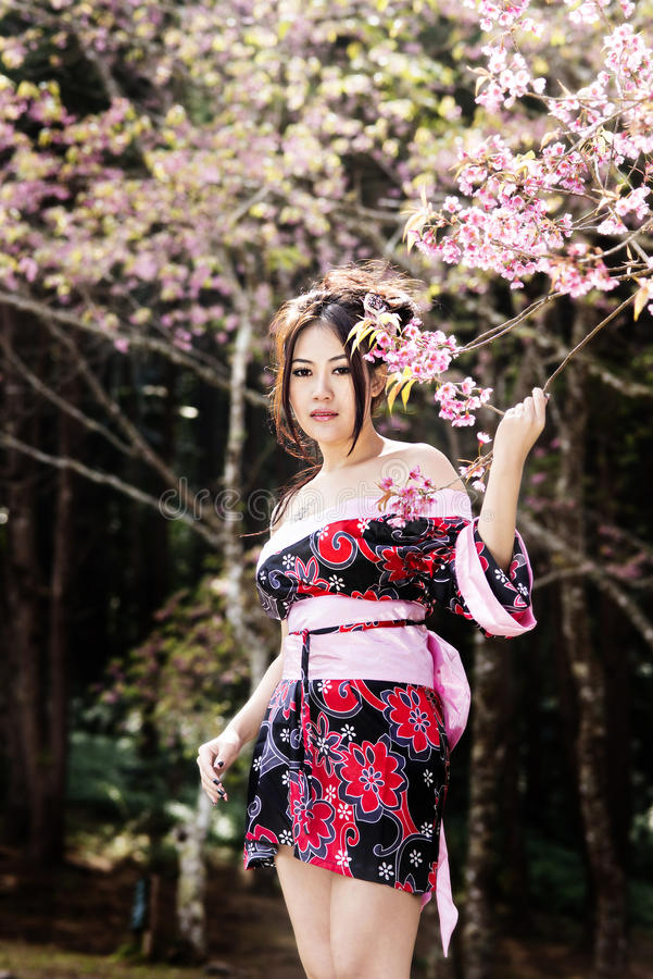 Japanese kimono inspired by cherry blossoms