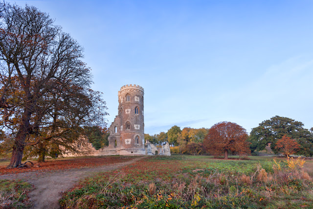 Colourful foliage around the folly on the Wimpole Estate