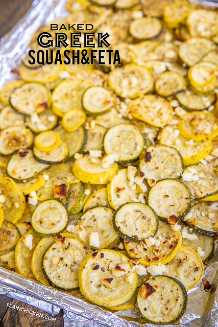 Baked Greek Squash and Feta Recipe - simple side dish that tastes delicious! Ready for the oven in minutes. Great with grilled chicken, pork, steak and even pasta! Yellow squash, zucchini, olive oil, Greek seasoning and feta. We make this all the time! YUM! #vegetables #squash #sidedish