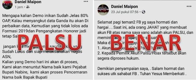 Daniel Maipon Ungkap Adanya Akun Facebook Palsu Mengatasnamakan Sekretaris Daerah Nabire