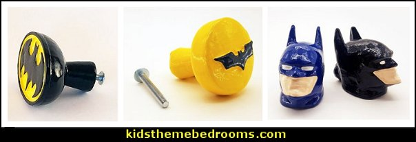 Batman Drawer Knobs   Superhero Knobs  batman bedrooms - batman bedroom decorating ideas -  batman furniture - batman murals - batman wall decals - batman bedding - batmobile bed - Batman room decor - batman pajamas -  batcave DC Comics Batman -  batman comics themed bedrooms -  Batman vs Superman Bedrooms - Superhero bedroom ideas -