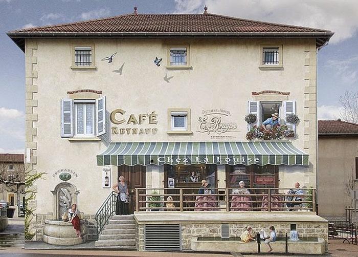French Artist Transforms Boring City Walls Into Vibrant Scenes Full Of Life - Café de l'Aqueduc