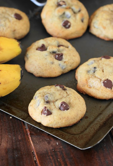 Love banana bread, but looking for a new way to enjoy those overripe bananas?  Give Banana Chocolate Chip Cookies a try!  If your house is anything like ours, these soft and tasty little cookies will disappear in a flash.