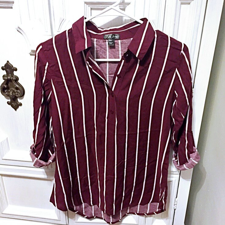 J for Justify burgundy and white striped button down blouse