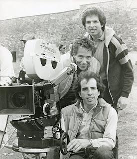 David Zucker, Jim Abrahams y Jerry Zucker en el rodaje de Top Secret