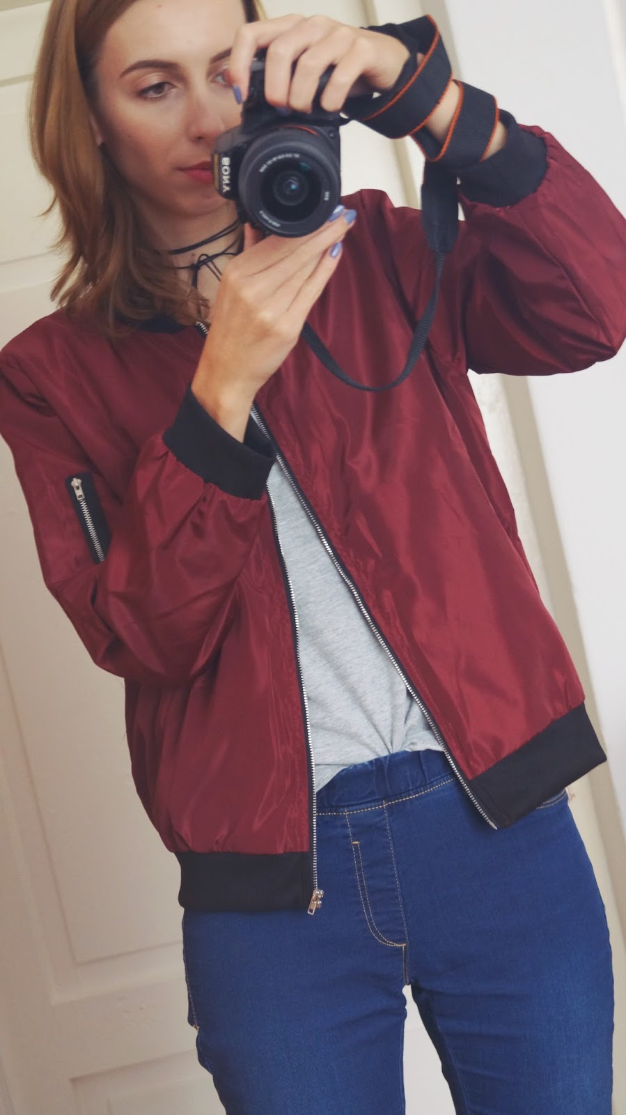 Bomber jacket and choker - www.dresslily.com