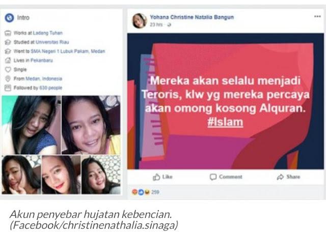 Postingan Yohana Christine Natalia Bangun di facebook