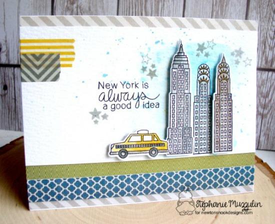 New York City Card by Stephanie Muzzulin | Newton Dreams of New York Stamp and Die Set by Newton's Nook Designs #newtonsnook #newyork