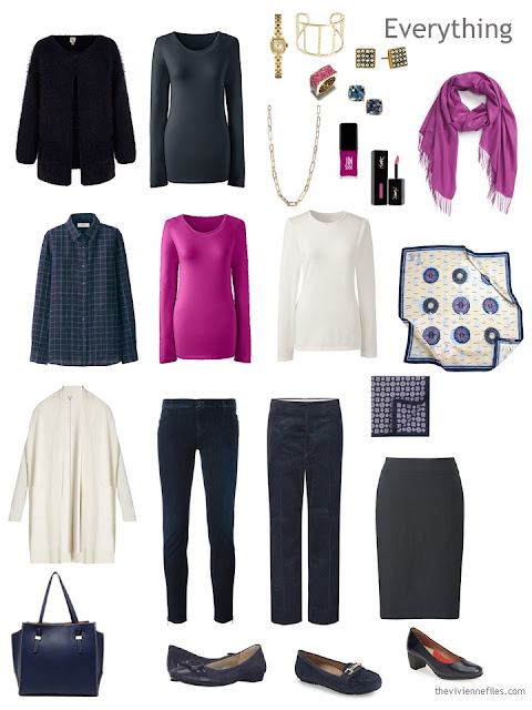 travel capsule wardrobe in navy, hot pink and cream