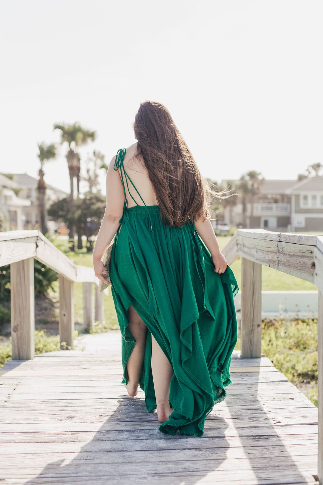 Girl wearing Green Free People Maxi Dress