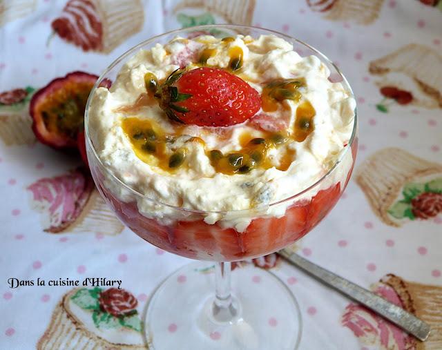 Eton mess aux fraises et fruits de la passion