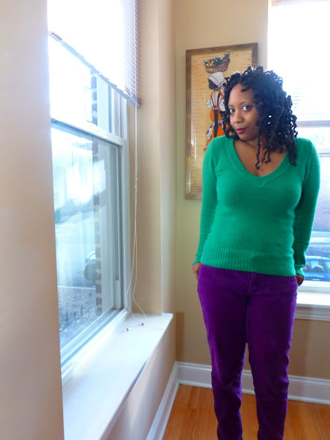 Green Sweater and Purple Cords