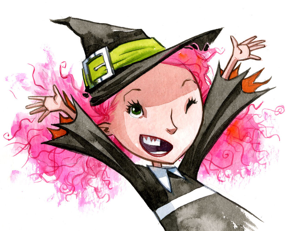 Magic Trixie, a young girl in a black frock and traditional witch's hat, with frizzy pink hair