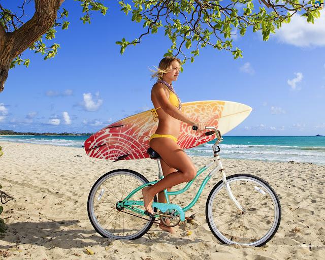 Girl On Bicycle HD desktop wallpaper
