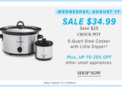 Hudson's Bay Deal of the Day $25 Off Crock Pot + 25% Off Small Appliances