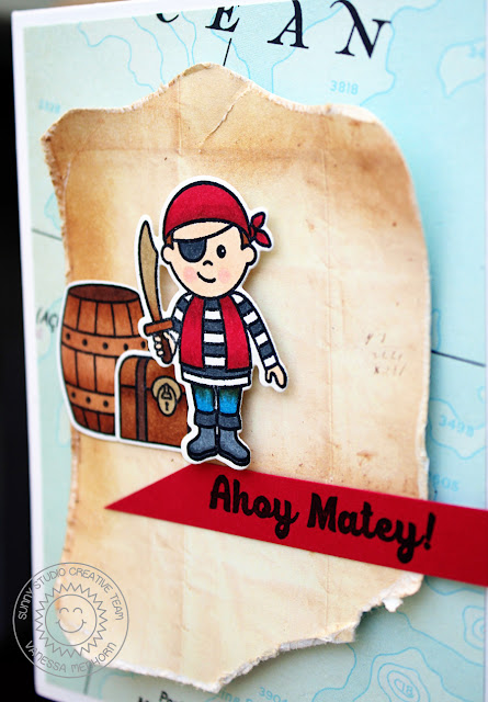 Sunny Studio Stamps: Pirate Pals Boy Themed Pirate Card by Vanessa Menhorn
