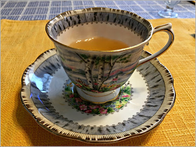 March 31, 2019 Taking breakfast with a cup of tea.
