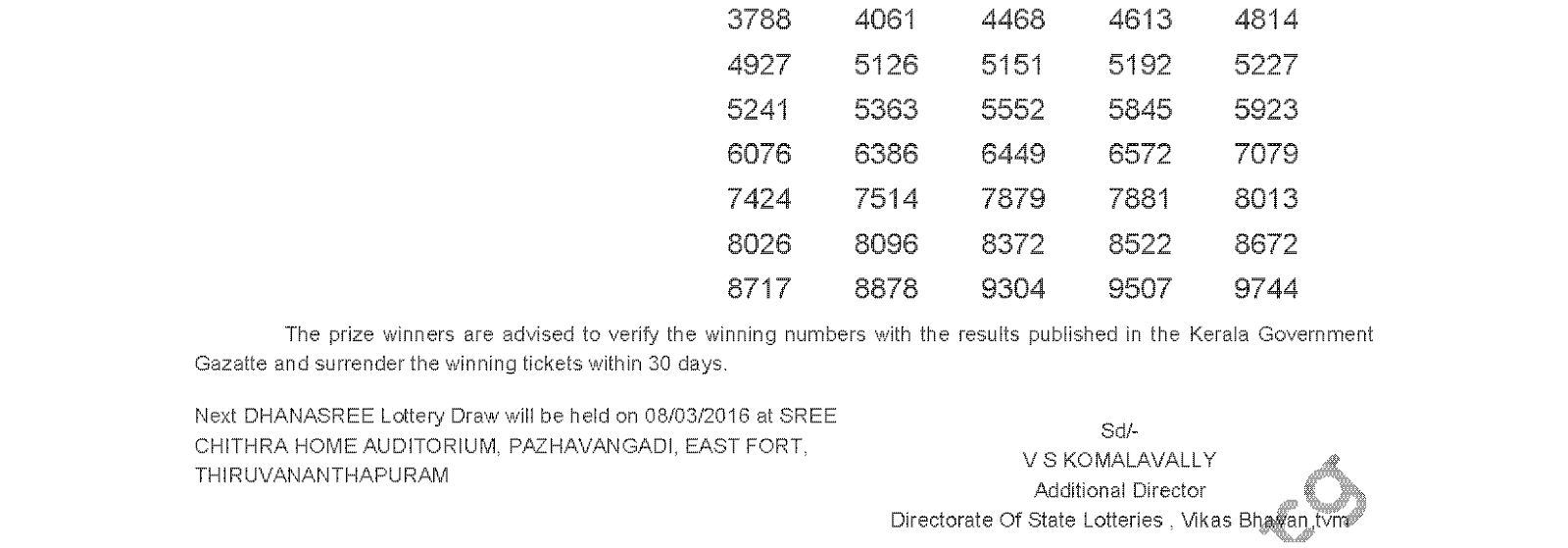 DHANASREE Lottery DS 226 Result 01-03-2016