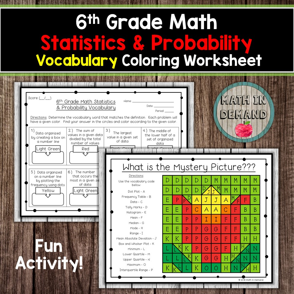 6th Grade Math Vocabulary Coloring Worksheets [ 960 x 960 Pixel ]