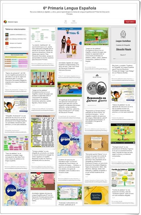 Conjunto de juegos y actividades de Lengua de 6º de Primaria Tablero de Pinterest