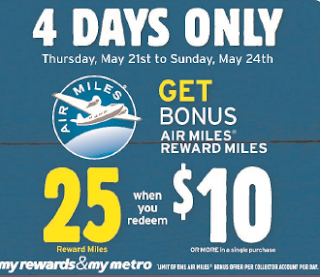 $10 or more Air Miles cash at Metro and get 25 bonus Air Miles, Metro, Air Miles cash, Air Miles, bonus Air Miles, 100 Happy Days Challenge, Another Random Thought of a Procrastinator, Random Thought, Another Random Thought, Random Thoughts, Another Random Thoughts, Procrastinator