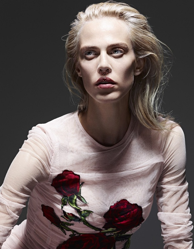 Dolce & Gabbana 2015 AW Nude Silk Tulle Dress With Applique Roses Editorials