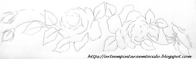 ramo de rosas risco pintura em tecido