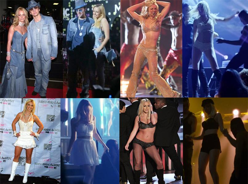 Comparativa de algunos de los estilismos más icónicos de Britney Spears y su representación en el biopic de Lifetime Britney Ever After