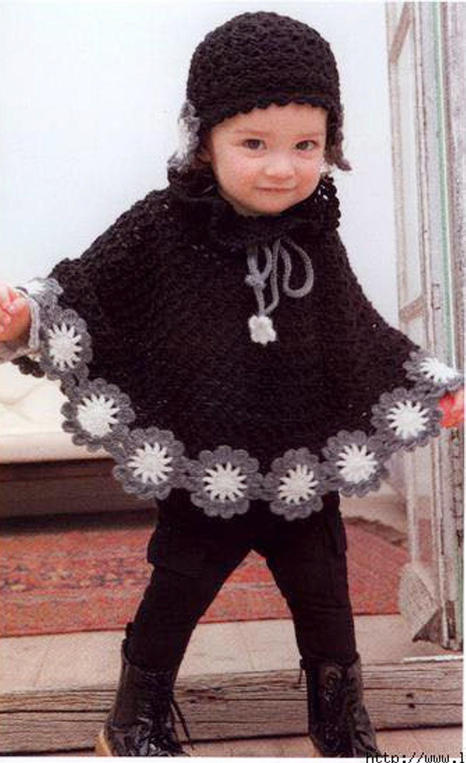 Capa de niña a Crochet