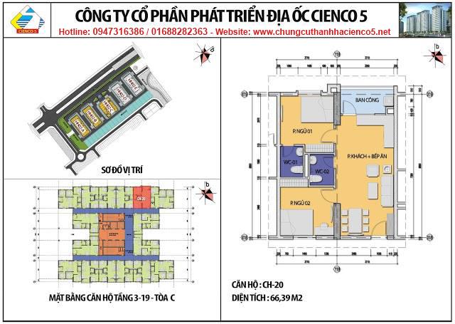 Sơ đồ thiết kế căn 20 chung cư B2.1 HH02C Thanh Hà Cienco 5