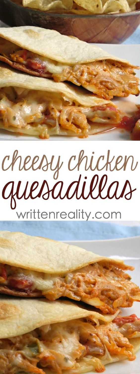 THESE CHEESY CHICKEN QUESADILLAS ARE OUT OF THIS WORLD DELICIOUS! #chicken #cheesy #quesadillas #chickenquesadillas #chickenrecipes #easydinnerrecipes #dinnerrecipes #dinnerideas