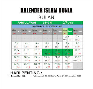 Kalender Islam Bersatu Bulan Rabi'ul Awal 1440 H