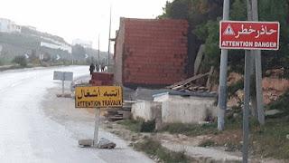 SONEDE   حالة إحتقان لدى المواطنين برفراف بسبب بناء فوضوي للشركة التونسية لإستغلال وتوزيع المياه على كامل رصيف الطريق الرئيسية لرفراف الشاطئ