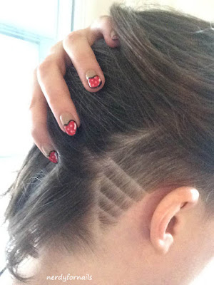 Side Shave Hair & Heart Nails